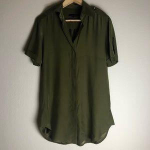 Karina Grimaldi Silk short sleeves green blouse S